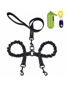 Dual Dog Leash, Double Dog Leash,360° Swivel No Tangle Double Dog Walking & Training Leash, Comfortable Shock Absorbing Reflective Bungee For Two Dogs With Waste Bag Dispenser And Dog Training Clicker by U Picks