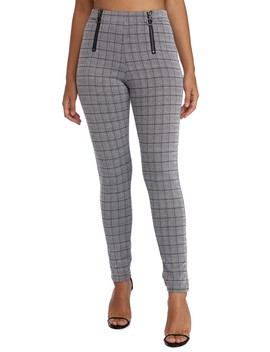 Zipper Detail Plaid Skinny Pants by Windsor