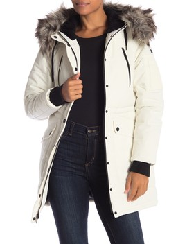 Faux Fur Trim Parka Jacket by Bcb Generation