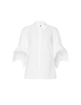Cotton Poplin Neckband Shirt by Delpozo