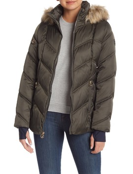 Faux Fur Trimmed Hooded Puffer Coat With Stretch by Nautica