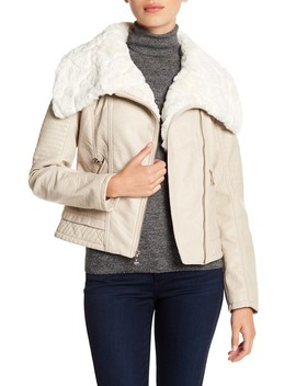 Faux Fur Collared Faux Leather Jacket by Guess