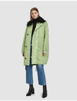 Faux Fur Trim Coat by Mm6 Maison Margiela