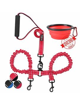 Haapaw Two Dog Leash Coupler   2 Dog Leash Tangle Free, Stretchable From 30 To 35 Inch – Comfortable Handle Dual Dog Leash For 2 Dogs With A Free Collapsible Dog Bowl by Haapaw