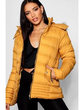 Padded Jacket With Faux Fur Trim Hood by Boohoo