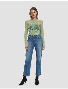 Freya Long Sleeve Mesh Tee In Green by Need