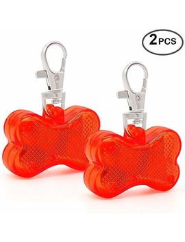 Higo Pack Of 2pcs Led Dog Tags   Glow In The Dark Pet Supplies Bone Shape Pet Id Tag, For Small &Large Dogs For Safety Nighttime Dog Walking by Higo
