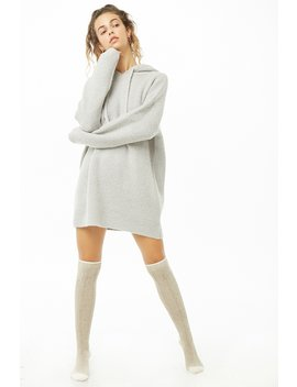 Hooded Sweater Knit Mini Dress by Forever 21
