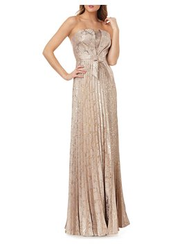 Strapless Metallic Jacquard Gown W/ Bow by Neiman Marcus