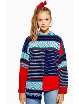 Patched Fair Isle Jumper by Topshop