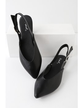 Violia Black Pointed Toe Slingback Flats by Lulu's