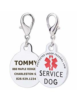 Tag Me Personalized Working Dog Tags Red Medical Alter Symbol, Stainless Steel Custom Engraved Dog Tags by Tag Me