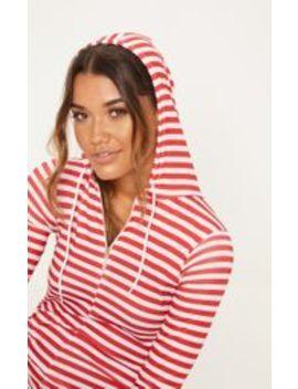 Red & White Stripe Onesie by Prettylittlething