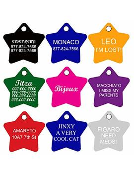 Cnattags Pet Id Tags Star Shape, 8 Colors, Personalized Premium Aluminum by Cnattags