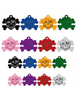 Cnattags Pet Id Tags Skull Shape, 2 Sizes, 8 Colors, Personalized Premium Aluminum by Cnattags