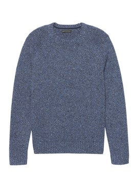 Merino Wool Blend Donegal Crew Neck Sweater by Banana Repbulic