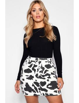 Plus Cow Print Denim Skirt by Boohoo