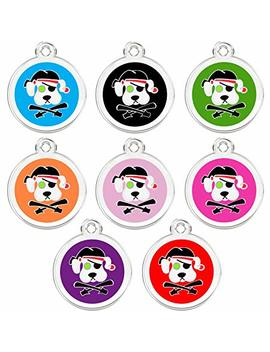 Cnattags Stainless Steel With Enamel Pet Id Tags Designers Round Pirate Dog by Cnattags