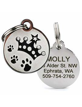 Designer Personalized Stainless Steel Pet Id Tags For Dogs & Cats. Custom Engraved With Four Lines Of Text. Stylish & Fun For Every Pet! Bone, Crown, Smiley Cat, Starry Moon Cat, Robo Dog, Bat Dog. by Go Tags