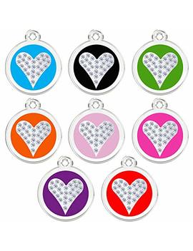 Cnattags Stainless Steel With Enamel Pet Id Tags Personalized Designers Round Crystal Heart by Cnattags