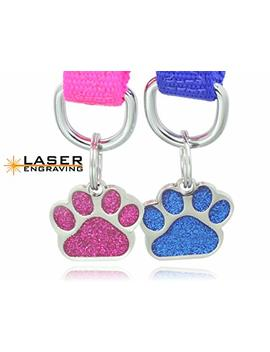 Laser Etched Glitter Paw Pet Id Tags Custom Personalized For Dog & Cat Paw Print Tag by Io Tags