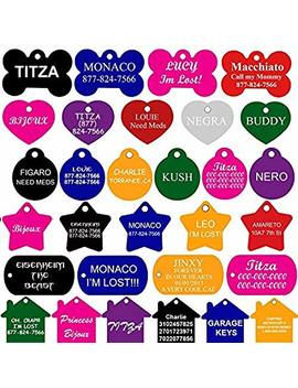 Cnattags Pet Id Tags Many Shape, 8 Colors, Personalized Front And Back Premium Aluminum For Dogs And Cats by Cnattags