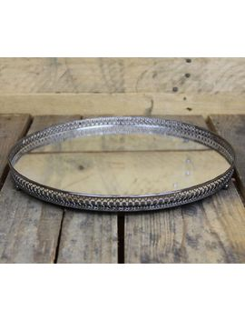 Silver Effect Mirror Tealight Candle Plate Tray 30cm by Ebay Seller