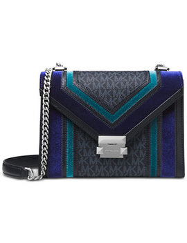 Whitney Tricolor Velvet Signature Shoulder Bag by Michael Michael Kors