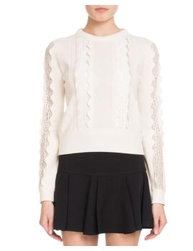 Crewneck Long Sleeve Wool Scalloped Knit Sweater With Lace Inserts by Chloe