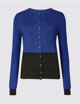 Colour Block Round Neck Cardigan by Marks & Spencer