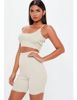 Stone Strappy Knitted Ribbed Crop Top Co Ord by Missguided