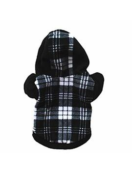 Napoo Clearance Dog Pet Clothes Plaid Hoodie Warm Fleece Puppy Coat Apparel by Napoo
