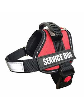 Albcorp Reflective Service Dog Vest/Harness, Woven Polyester & Nylon, Comfy Soft Padding, Red/Black by Albcorp