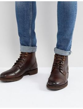 Burton Menswear Leather Lace Up Boot In Brown by Burton Menswear London