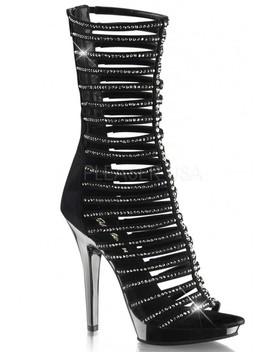 Black Pewter Rhinestone Strappy High Heels Faux Suede by Ami Clubwear