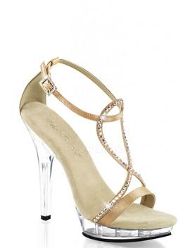 Champagne Rhinestone Strappy High Heels Satin by Ami Clubwear