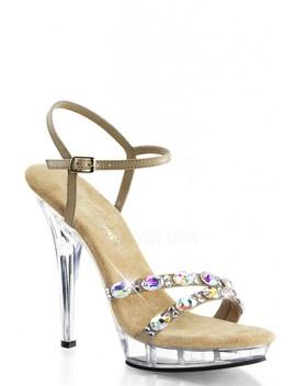 Taupe Rhinestone Strappy High Heels Faux Leather by Ami Clubwear