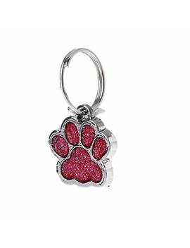 Wodwad Pet Collar Tag Shiny Glitter Paw Shape Pet Dog Cat Id Tag Keychain With Ring by Wodwad