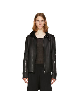 Black Lambskin Shearling Jacket by Rick Owens