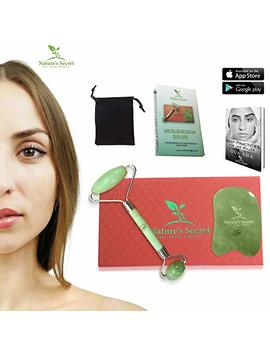 Anti Aging Jade Roller Therapy And Gua Sha Scraping Tool Set, 100 Percents Natural Jade Facial Roller, Double Neck Healing Slimming Massager For... by Nature's Secret Anti Aging Products