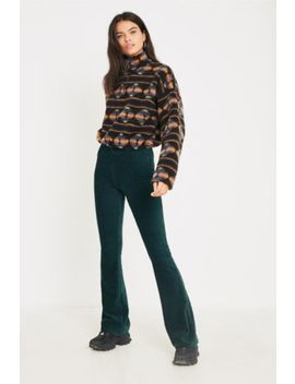 Uo Dark Green Velvet Flare Pant by Urban Outfitters