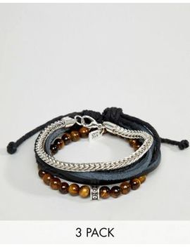 Icon Brand Black Leather & Brown Beaded Bracelets In 3 Pack by Icon Brand