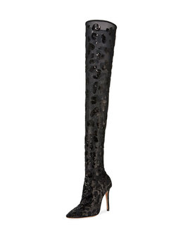 Leopard Sequined Mesh Over The Knee Boots by Gianvito Rossi