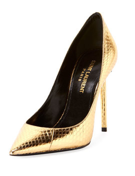 Zoe Metallic Snakeskin Pumps by Saint Laurent