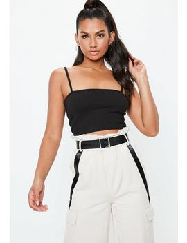 Black Straight Neck Ribbed Strappy Top by Missguided