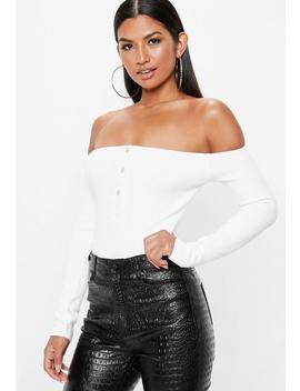 White Ribbed Bardot Popper Bodysuit by Missguided