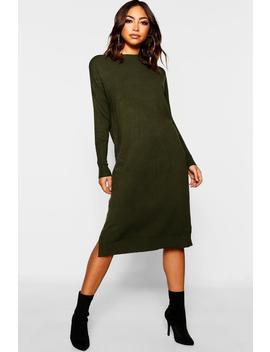 Crew Neck Knitted Dress by Boohoo