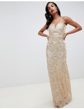 Tfnc Patterned Sequin Beandeau Maxi Dress In Gold by Tfnc