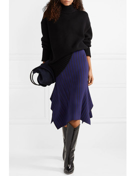Asymmetric Striped Stretch Jersey Midi Skirt by Jason Wu Grey