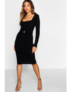 Ribbed Belted Midi Dress by Boohoo